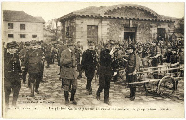 French military commander GALLIENI reviews organisations involved in the preparations for war
