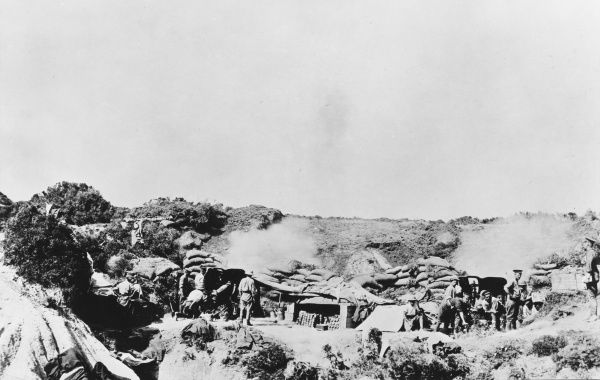 460th Battery Royal Field Artillery at V Beach at Gallipoli during World War I