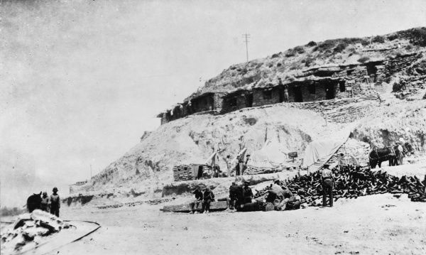 Funk holes and dug-outs on the cliffs at Gallipoli during World War I