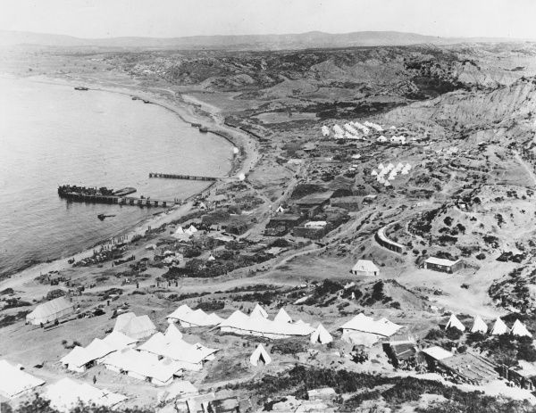 View from Pluggs Plateau showing Walker's Ridge in Gallipoli during World War I