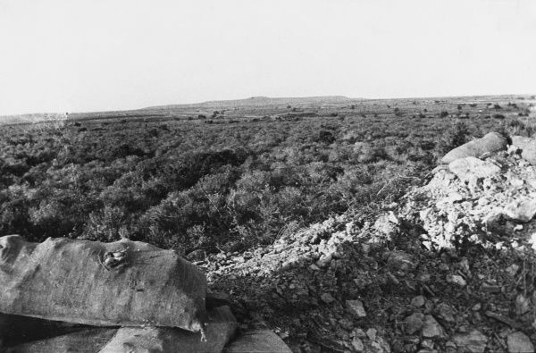 View from the front line trench towards Achi Baba at Gallipoli during World War I