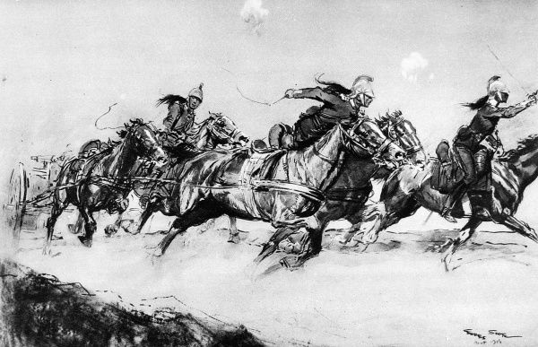 Galloping a machine gun into action: A French Dragoon Mitrailleuse section dashing forward under fire