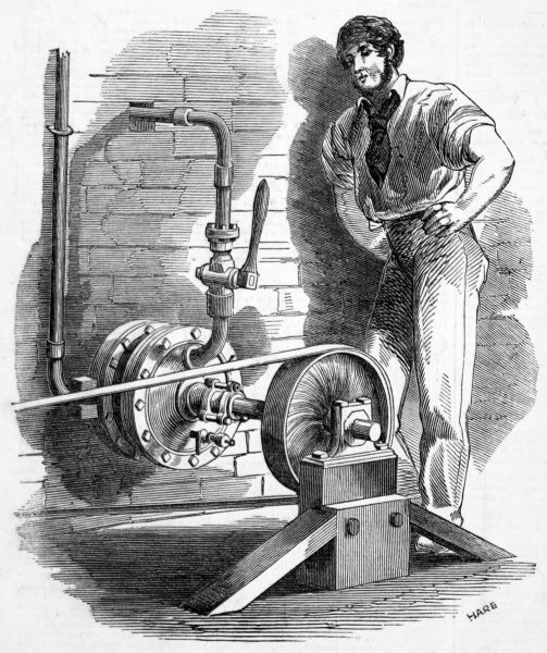 Engraving of Galloway's rotary steam engine. The machine was extremely powerful for its size