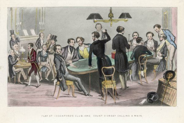 A gaming table at Crockford's Club House, established by William Crockford. Count D'Orsay is pictured 'calling a main&#39