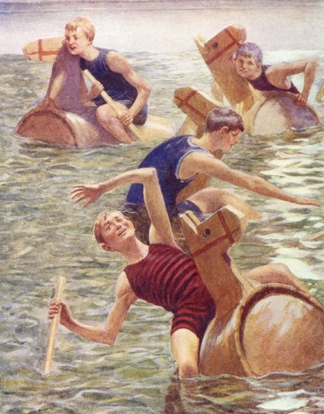 Four boys in their swimsuits have a barrel-boat race Date: 1911
