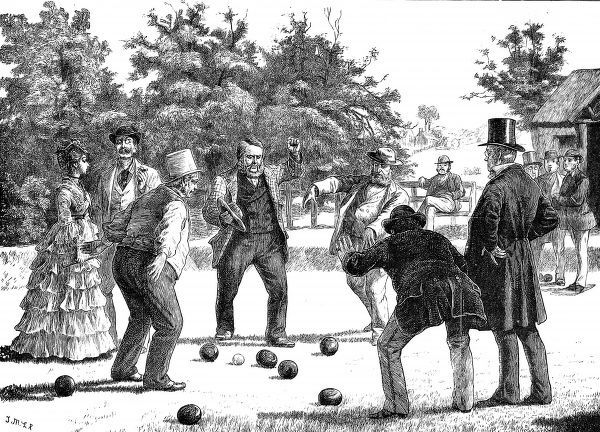 Engraving showing a close game of bowls on a bowling lawn somewhere in England, c.1872. Four players appear to be vigorously contesting the result