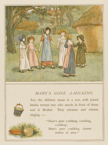 A group of girls play Mary's Gone A-Milking in a field