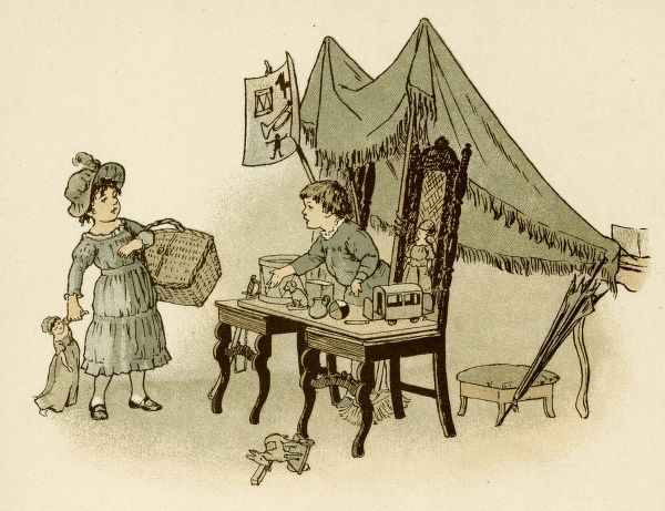 Children playing at shops with the help of two chairs and a tablecloth. Date: circa 1890