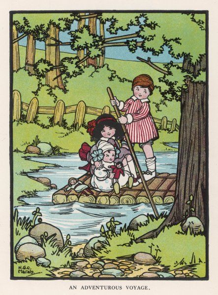 Three children and their two dolls go rafting on a pond