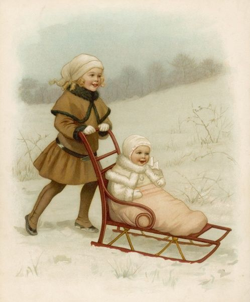 Sister pushes baby through the snow on a sledge