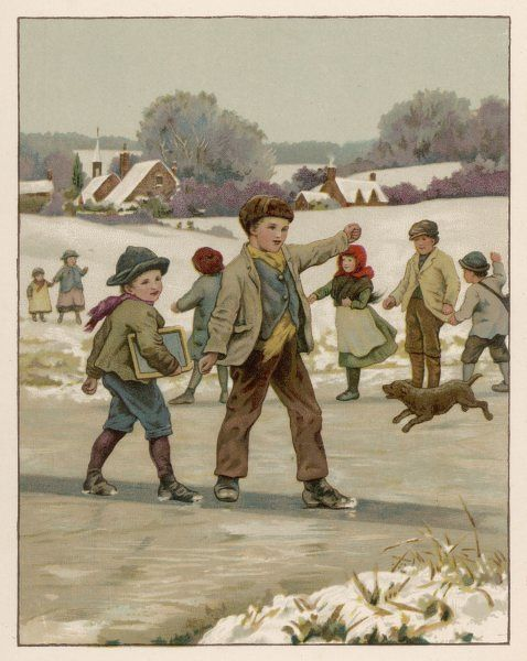 Children sliding on the ice in a snowy country landscape