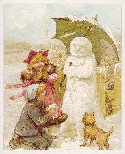 Two children (and their dog) thoughtfully provide their snowman with a parasol to stop the sun melting him
