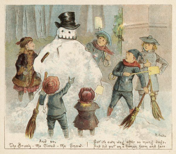 Six children admire the snowman they've made