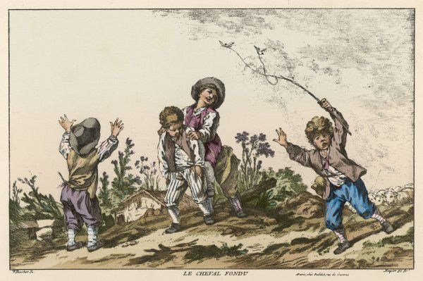 Four boys playing Le Cheval Fondu, known in the UK as Itchy or Warney