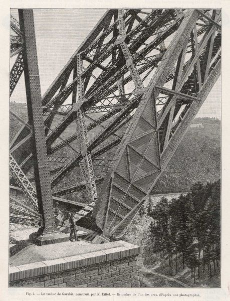 A close-up of the revolutionary wrought-iron trusses used by Gustave Eiffel in the construction of the viaduc de Garabit, Southern France
