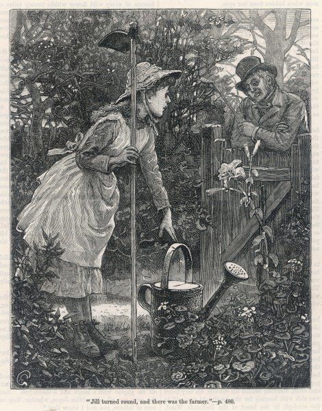 A young woman breaks from her gardening to chat with a neighbouring farmer who leans on the gate