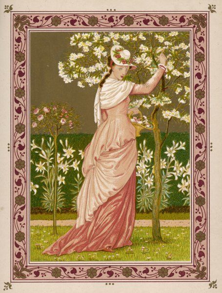 'Cherry Ripe': a pretty lady in a pink dress stands in front of a tree full of blossom
