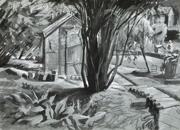 Landscape scene of gardens with shed and trees; a somewhat sinister air