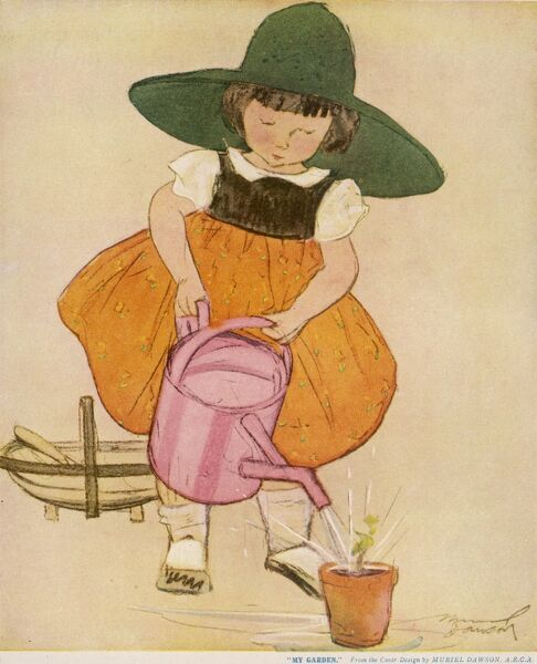 A little girl in a wide brimmed sun hat rather over zealously waters a lone seedling in a plant pot