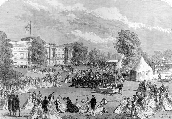 Engraving showing a garden party, held by Queen Victoria, in the grounds of Buckingham Palace, London, in 1868