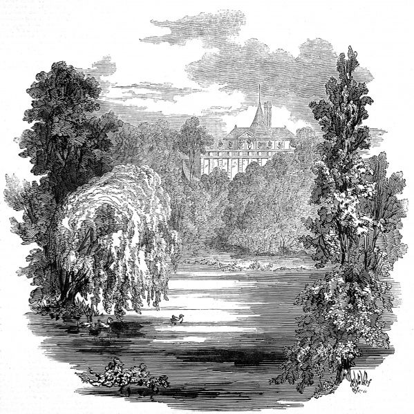 Engraving showing the lake and Garden Pavilion in the grounds of Buckingham Palace, London, 1846