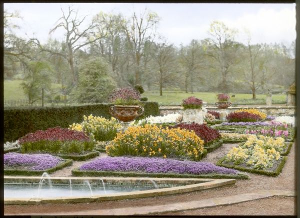 View of the formal garden in the spring, at Abbotswood, Stow on the Wold, Gloucestershire, with grass and trees in the background. The gardens were created by Sir Edwin Lutyens