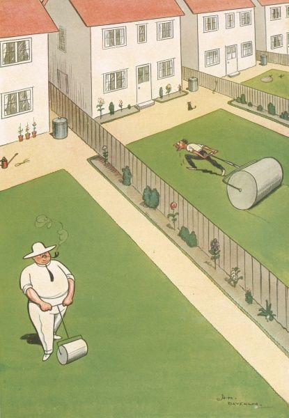 Humorous illustration by the artist H.M. Bateman showing neighbours in adjacent gardens simultaneously rolling their lawns