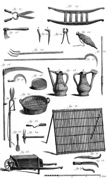 Various gardening tools from the 18th century. Date: Circa 1760