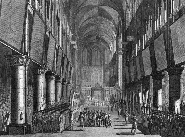 The banners of the Garde Nationale of Paris, who support the revolutionaries, are solemnly blessed in the cathedral of Notre Dame Date: 27 September 1789
