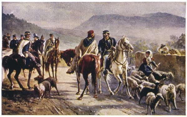 Italian patriot Giuseppe Garibaldi meets Vittorio Emmanuele II, king of Sardinia, in the countryside