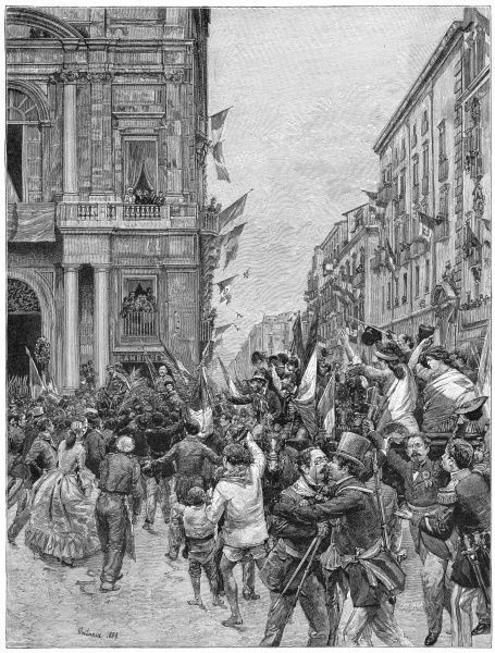 Garibaldi and his men enter Naples, to general acclaim