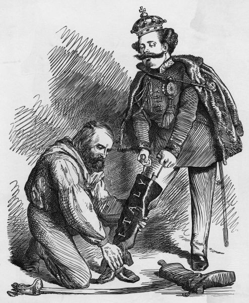 Garibaldi helps Vittorio Emanuele into his royal footwear