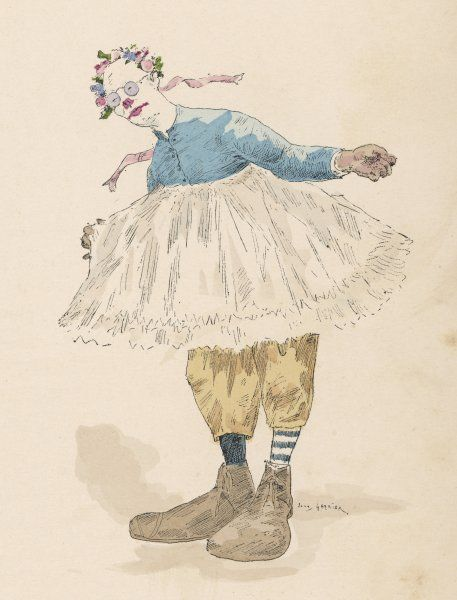 A clown wearing very large shoes, flowers in his hair, glasses and a pink tutu