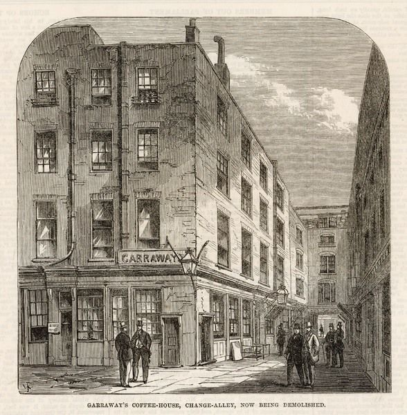 The exterior of Garraway's coffee house in Change Alley, London, rebuilt after a fire in 1748, one of the first to sell tea in the 17th century
