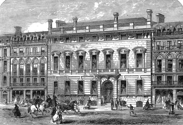 Engraving showing the exterior of the Garrick Club's premises in King Street, Covent Garden, 1864