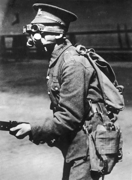 An English soldier wearing one of the original gas masks on the Western Front