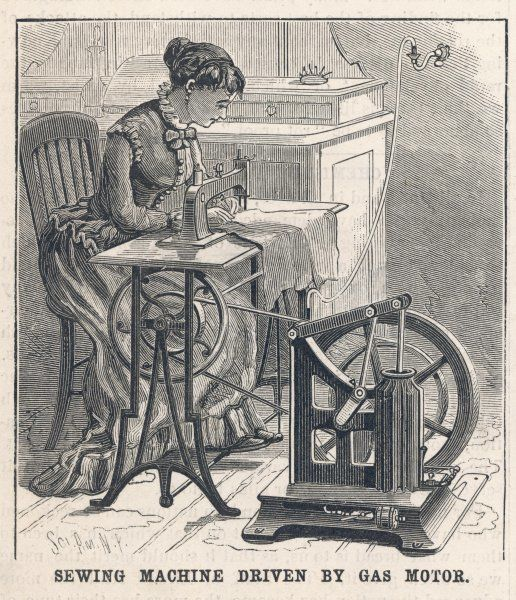 This sewing machine is powered by a gas engine, which draws its gas from a wall socket : probably noisy and smelly, and certainly dangerous - but better than treadling !