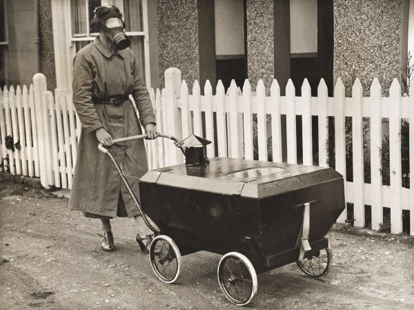Gas proof pram, 1938. A resident of Hextable in Kent, invented a gas proof pram in which a baby could be kept safe during an air raid