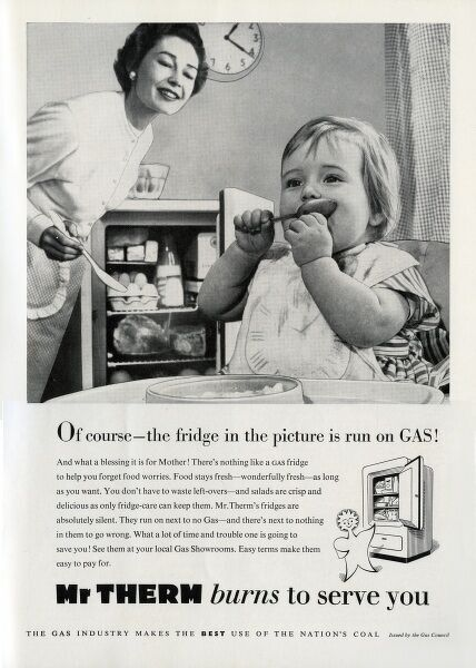 Advertisement for a gas-powered fridge depicting a carefree 1950s housewife gazing fondly at her gigantic baby. 1950s