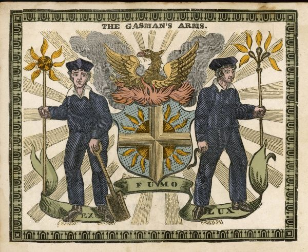 "An allegorical representation of two bold young gasworkers, holding the tools of their trade and with the motto 'Ex fumo lux' - ""from smoke cometh light&quot"