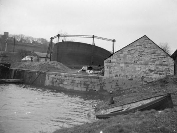 View of the gasworks, blown down in a gale in Haverfordwest, Pembrokeshire, Dyfed, South Wales