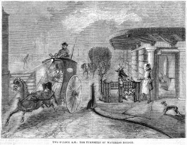 A hansom cab passes through the tollgate on Waterloo Bridge