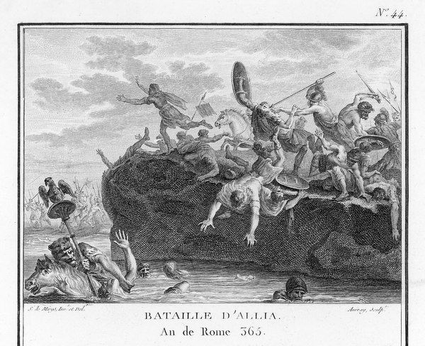 The Gauls defeat the Romans in battle on the River Allia