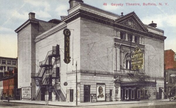 Gayety Theatre, Buffalo, New York State, USA - built in 1914. On the corner of Pearl and Huron Street. The architect was William H McElfatrick. The theatre was razed to the ground in 1955 and is now (rather sadly) a parking lot! Date: 1917