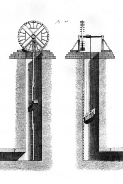 A gear lift for stone blocks in 18th century France. Date: Circa 1760