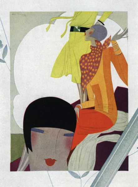 Graphic and stylised art deco fashion images with women wearing dresses typical of 1930 and with cropped or shingled hair