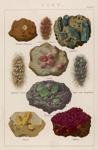 Various types of gemstones embedded in rock of mixed with sand, including rubies, garnet and topaz