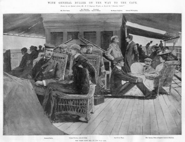 A scene on board the Donottar Castle, the ship transporting General Sir Redvers Buller to the Cape during the Transvaal (Boer) War