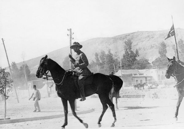General Sir Harry Chauvel (1865-1945) of the Australian Imperial Force, entering Damascus on horseback during the First World War