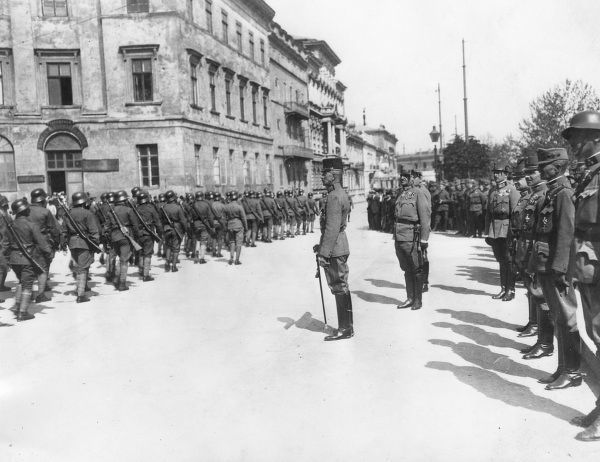 General Eduard von B�Ermolli (1856 - 1941) (central figure), Austrian general during World War One, reviewing troops on departure from Odessa in Ukraine, in June 1918